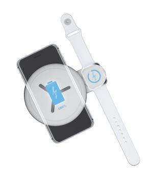 Беспроводное ЗУ Interstep для Iphone и Apple Watch, QI12W
